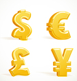 Monetary gold signs dollar pound euro and yen vector image