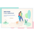 new comfortable park flat web page template vector image