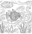 ocean fish coloring fashion pictures of water sea vector image vector image