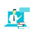 online mentor conducts training from a laptop vector image