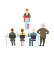 orator speaking from the tribune business meeting vector image