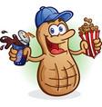 peanut cartoon character drinking soda pop vector image vector image