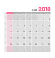 practical light-colored planner 2018 june flat vector image