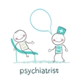 Psychiatrist says to the patient who is lying on vector image vector image