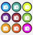 Purse icon sign Nine multi colored round buttons vector image