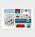 realistic classic interior elements collection vector image vector image