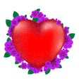 red heart with flowers to happy valentines day vector image vector image