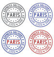 round postmarks paris france on white background vector image vector image