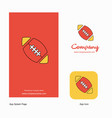 rugby ball company logo app icon and splash page vector image vector image