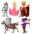 set medieval cartoon character vector image