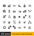 Set of Currency and business icon isolated on vector image