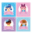 set of happy girls birthday cards vector image