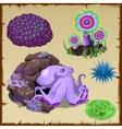 Set of purple octopus and underwater vegetation vector image vector image