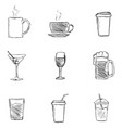 set sketch drinks icons vector image vector image