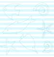 striped seamless pattern with sea life vector image vector image