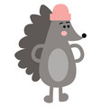 the hedgehog with pink hat looks cute or color vector image