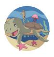 turtle seahorses jellyfish starfish swimming in vector image