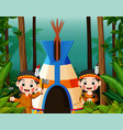 two girl american indians at campsite vector image vector image