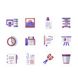 workspace accessories flat color icons set vector image vector image