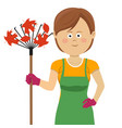 young gardening woman standing with rake vector image vector image
