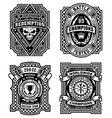 Ornate black and white emblem graphics set vector image
