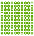 100 holidays family icons hexagon green vector image vector image
