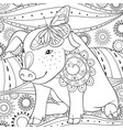 adult coloring bookpage a cute pig with a vector image vector image