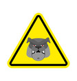 angry dog warning sign yellow bulldog hazard vector image vector image