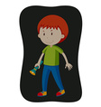 Boy carrying flashlight in the dark vector image vector image