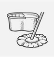 bucket and mop hand drawn sketch icon vector image vector image