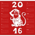 Calendar 2016Chinese zodiac monkey vector image vector image