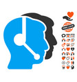 call center operators icon with love bonus vector image
