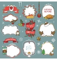 Christmas season doodle symbols with badges vector image