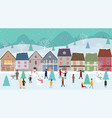 christmas winter wonderland landscape with vector image