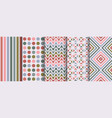 collection seamless colorful geometric patterns vector image vector image