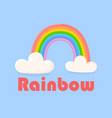 colorful rainbow with clouds isolated on blue vector image