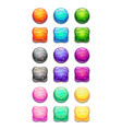 colorful round and square cartoon buttons set vector image vector image