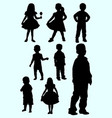 cute toddler silhouette style vector image vector image