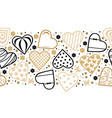 decorative hearts horizontal pattern seamless for vector image vector image