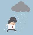 Depressed businessman walking in the rain vector image