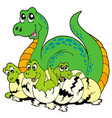 dinosaur mom with cute babies vector image