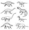 dinosaurs set triceratops brontosaurus vector image vector image