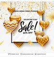 editable sale text and golden hearts on white vector image