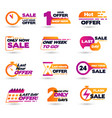 flat design last hour sale labels vector image