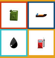 flat icon petrol set of droplet fuel canister vector image vector image