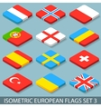 Flat Isometric European Flags Set 3 vector image