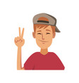 funny young man making hands gesturing vector image