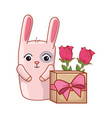 gift box present with cute rabbit vector image vector image