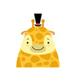giraffe in a black top hat funny face cute vector image vector image