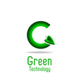 Green letter G and leaf eco technology logo mockup vector image